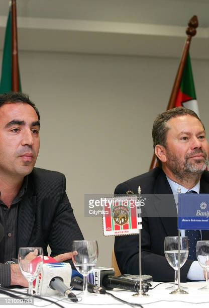 Alberto Pazos and Carlos Pereira during the press conference announcing him as the new Maritimo coach in Funchal Portugal on April 9 2007