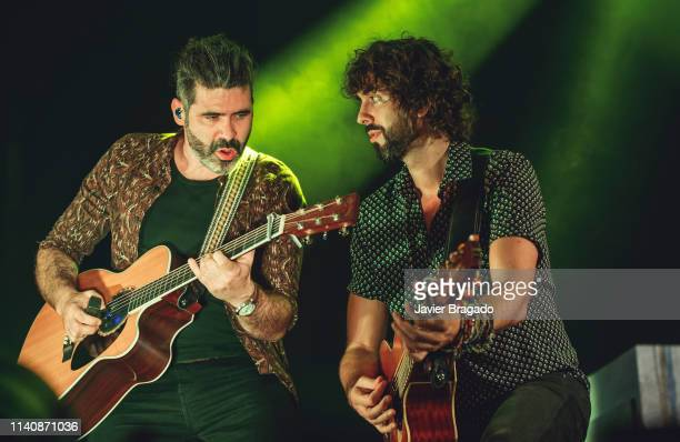 Alberto Perez and Mikel Izal from the band Izal performs in concert on stage at WiZink Center on April 06 2019 in Madrid Spain