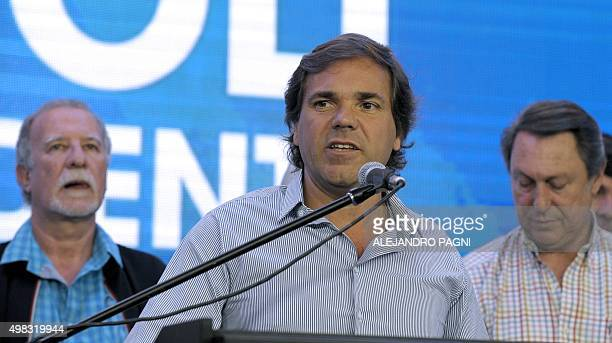 Alberto Perez chief of cabinet of the province of Buenos Aires speaks to followers at the headquarters of the presidential candidate Daniel Scioli...