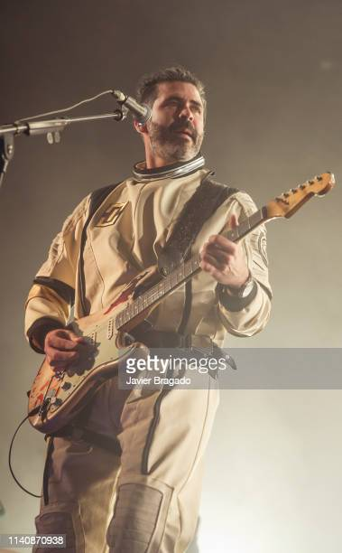 Alberto Perez from the band Izal performs in concert on stage at WiZink Center on April 06 2019 in Madrid Spain