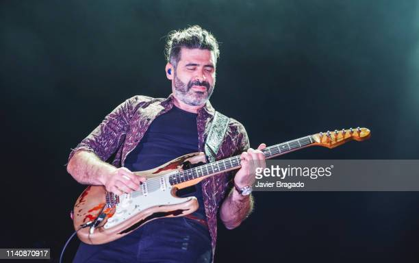 Alberto Perez from the band Izal performs in concert onstage at WiZink Center on April 06 2019 in Madrid Spain