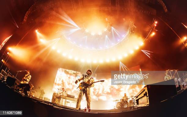 Alberto Perez Ivan Mella Mikel Izal Alejandro Jorda and Emanuel Perez from the band Izal performs in concert on stage at WiZink Center on April 06...