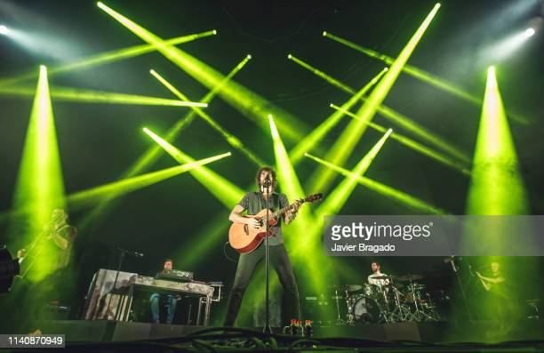 Alberto Perez Ivan Mella Mikel Izal and Alejandro Jorda from the band Izal performs in concert on stage at WiZink Center on April 06 2019 in Madrid...