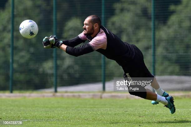 Fabrizio Alastra in action during a training session at the US Citta' di Palermo training campon July 23 2018 in Belluno Italy