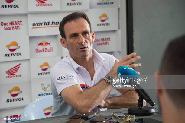 Alberto Puig of Spain and Repsol Honda Team speaks with journalists at Sepang Circuit on January 27 2018 in Kuala Lumpur Malaysia