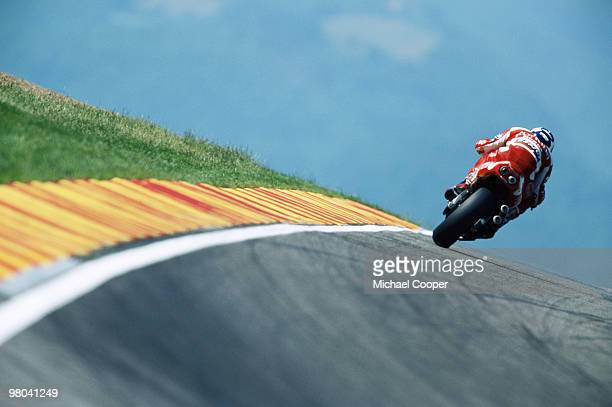 Alberto Puig races his 500cc motorcycle during the FIM Italian Motorcycle Grand Prix 6 Jun 1999held at the Mugello circuit in Tuscany Italy