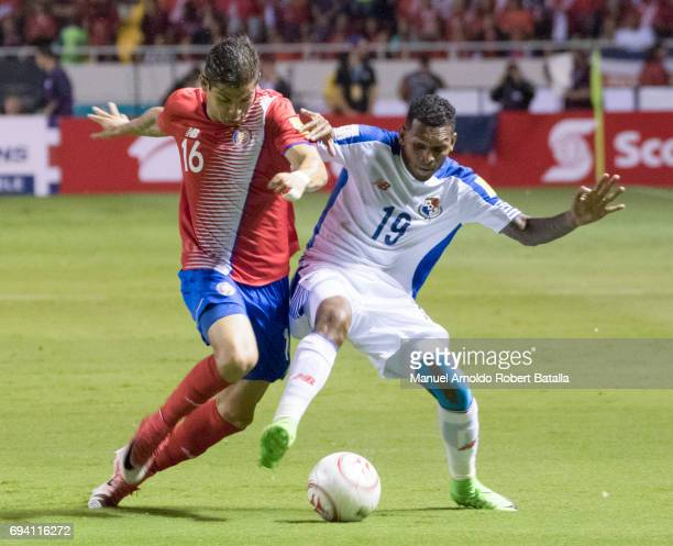 Alberto Quintero of Panama fights for the ball with Cristian Gamboa of Costa Rica during the match between Costa Rica and Panama as part of the FIFA...