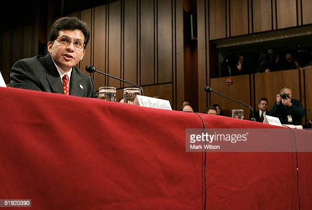 Alberto R Gonzales testifies during his Judiciary Committee confirmation hearing January 6 2005 in Washington DC US President George W Bush has...