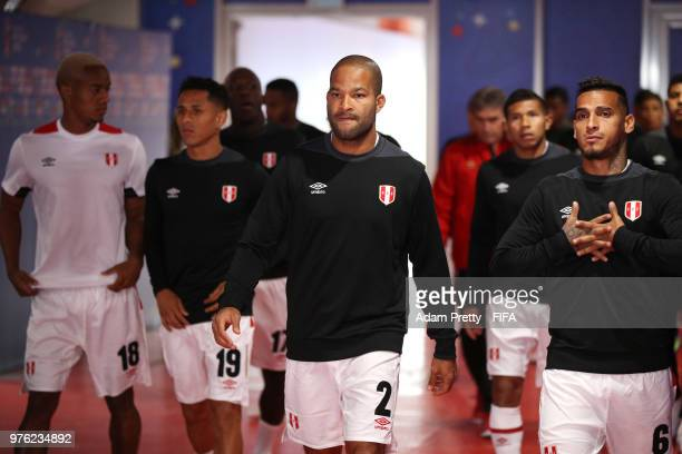 Alberto Rodriguez of Peru and Miguel Trauco of Peru look on in the tunnel prior to the 2018 FIFA World Cup Russia group C match between Peru and...