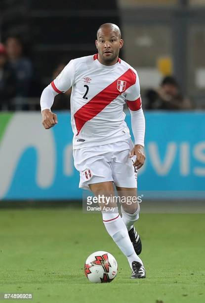 Alberto Rodriguez of Peru drives the ball during a second leg match between Peru and New Zealand as part of the 2018 FIFA World Cup Qualifier Playoff...