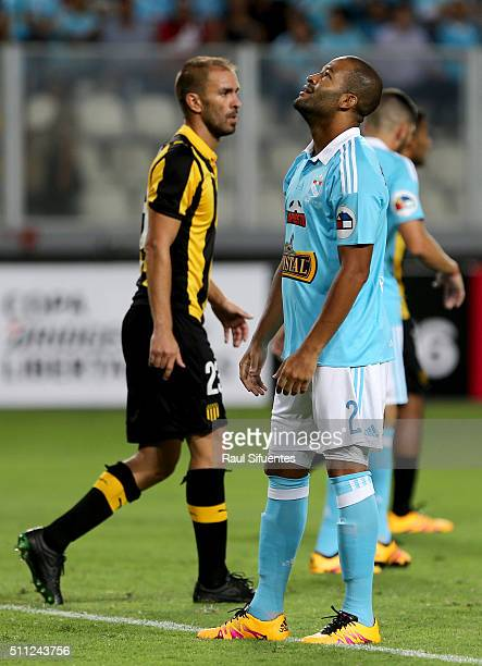 Alberto Rodriguez of Sporting Cristal reacts during a group 4 match between Sporting Cristal and Penarol as part of Copa Libertadores 2016 at...