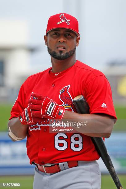 Alberto Rosario of the St Louis Cardinals prepares for batting practice prior to the spring training game against the Washington Nationals at The...