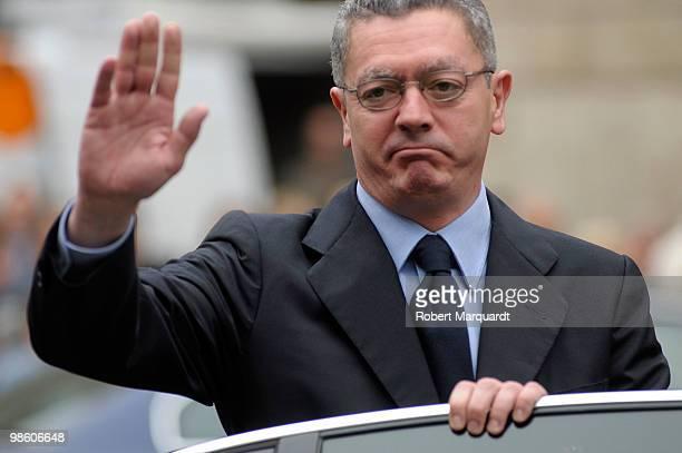 Alberto RuizGallardon mayor of Madrid attends the viewing of the casket of former International Olympic Committee president Juan Antonio Samaranch at...