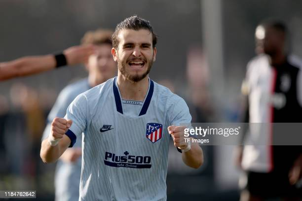 Alberto Salido of Atletico Madrid U19 celebrates after scoring his team's first goal during the UEFA Youth League match between Juventus U19 and...