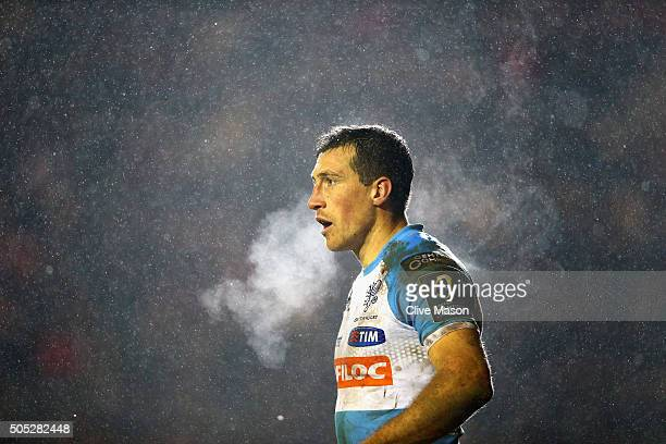 Alberto Sgarbi of Benetton Treviso look on as the snow falls during the European Rugby Champions Cup match between Leicester Tigers and Benetton...