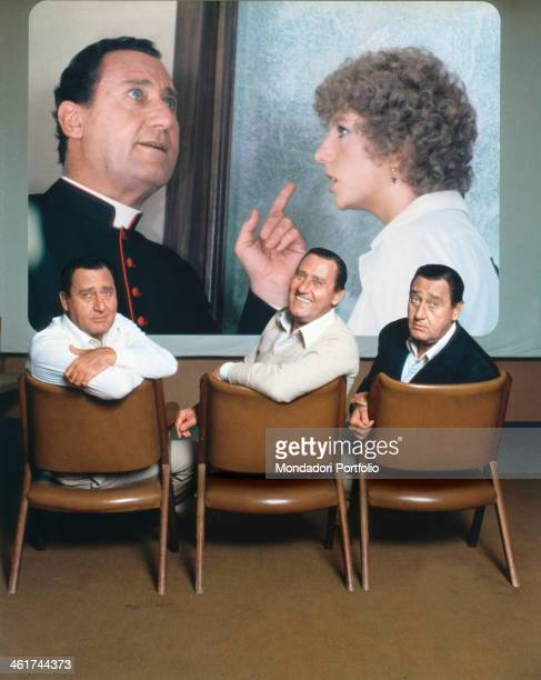 Alberto Sordi tripled thanks to a photomontage smiles towards the camera on the background can be seen a frame from the 1976 movie Strange Occasion...