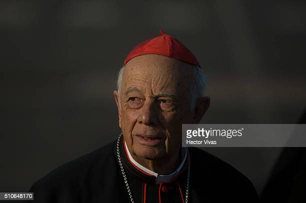Alberto Suarez Inda Archbishop of Morelia during the arrive of Pope Francis at General Francisco Mujica International Airport during his official...