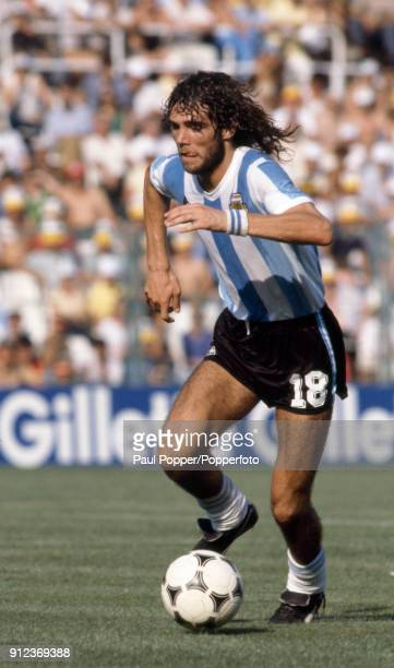Alberto Tarantini in action for Argentina during the FIFA World Cup match between Argentina and Italy at the Estadio Sarria in Barcelona 29th June...