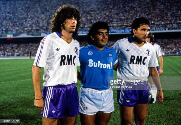 Alberto Tarantini of Toulouse Diego Maradona of Napoli and Alberto Beto Marcico of Toulouse during the UEFA Cup match between Napoli and Toulouse...