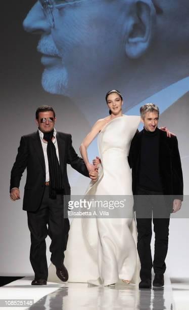 Alberto Terranova and model Mariacarla Boscono walk the runway during Fausto Sarli fashion show as part of AltaModa AltaRoma Spring/Summer 2011 on...