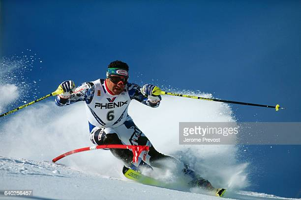 Alberto Tomba competes in the slalom during the 1996 World Championship