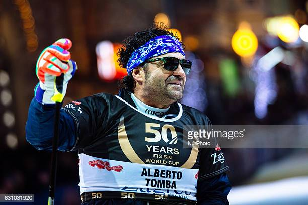 Alberto Tomba during ski race winners of the FIS World Cup on the slopes of the Zagreb cathedral to the square Ban Jelacic Square in Zagreb Croatia...