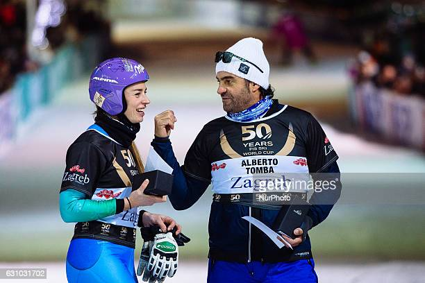 Alberto Tomba from ITA and Tina Maze from SLO during ski race winners of the FIS World Cup on the slopes of the Zagreb cathedral to the square Ban...