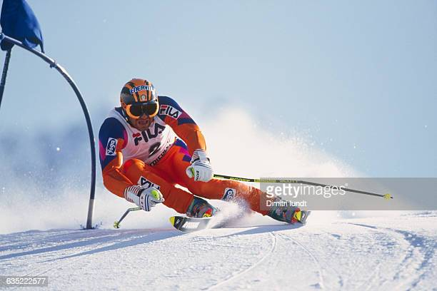 Alberto Tomba from Italy during a Giant Slalom