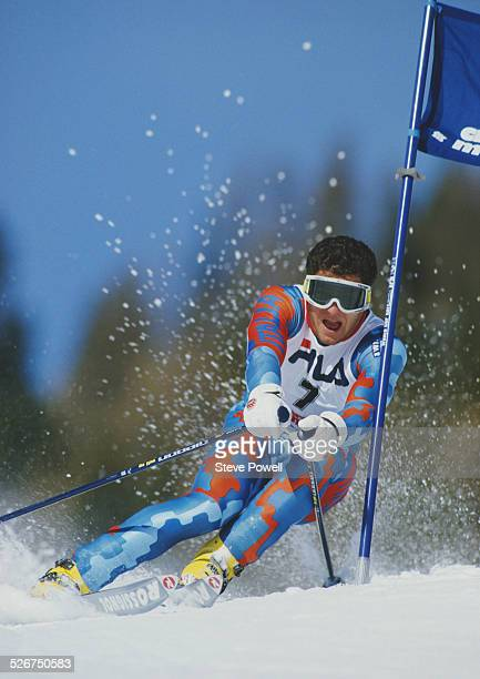 Alberto Tomba of Italy during the International Ski Federation Men's Giant Slalom at the Alpine Skiing World Cup event on 4 February 1987 in Crans...