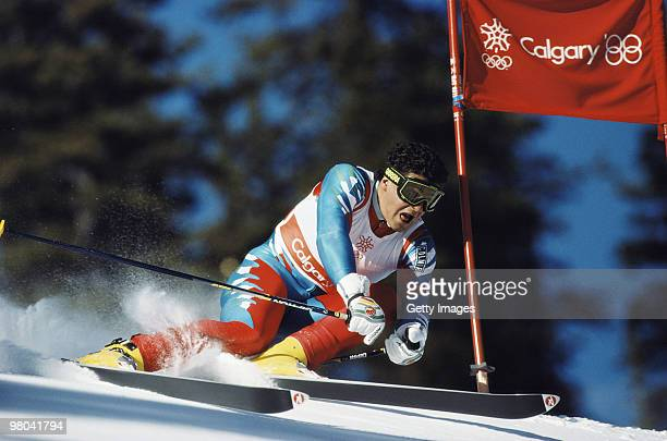 Alberto Tomba of Italy in action during the Mens Giant Slalom ski event on 25 February 1988 during the XV Olympic Winter Games in Calgary Canada