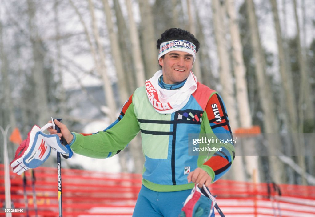 Alberto Tomba #9 of Italy previews the Slalom course at the FIS Alpine World Ski Championships on February 12, 1989 in Vail, Colorado.