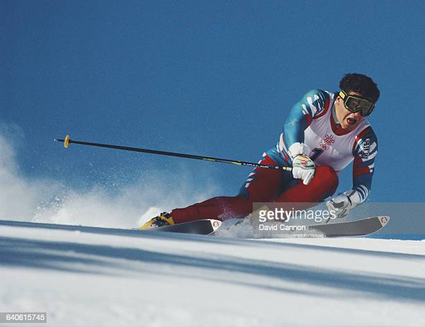 Alberto Tomba of Italy skiing the Men's Giant Slalom event on 25 February 1988 during the XV Olympic Winter Games in Nakiska Calgary Alberta Canada