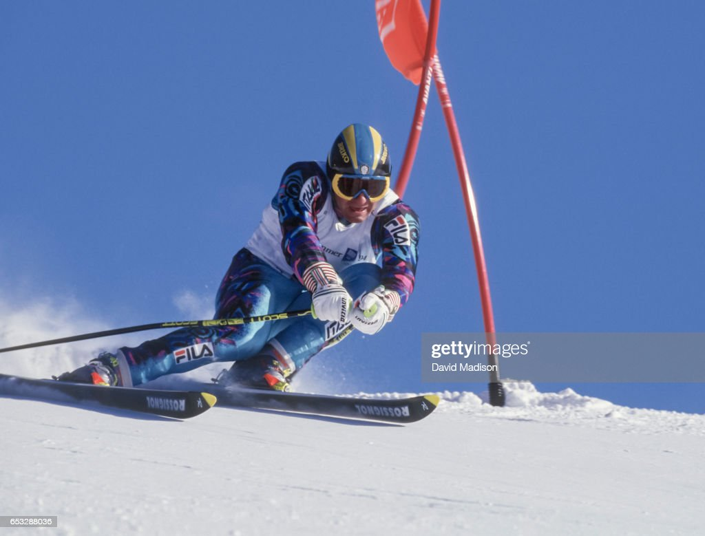Alberto Tomba of Italy skis in the Giant Slalom event of the Winter Olympic Games on February 23, 1994 at the Hafjell ski area near Lillehammer, Norway.