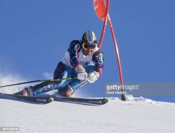 Alberto Tomba of Italy skis in the Giant Slalom event of the Winter Olympic Games on February 23 1994 at the Hafjell ski area near Lillehammer Norway
