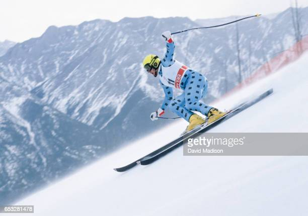 Alberto Tomba of Italy skis in the SuperG event of the Alpine Skiing Competition of the Winter Olympic Games on February 21 1988 at the Nakiska ski...
