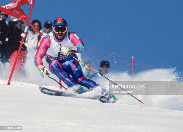Alberto Tomba of Italy skis to a gold medal in the Giant Slalom skiing event of the 1992 Winter Olympic Games on February 18, 1992 at Val d'Isere...