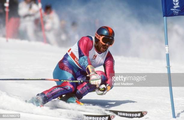 Alberto Tomba of Italy skis to a gold medal in the Giant Slalom skiing event of the 1992 Winter Olympic Games on February 18 1992 at Val d'Isere near...
