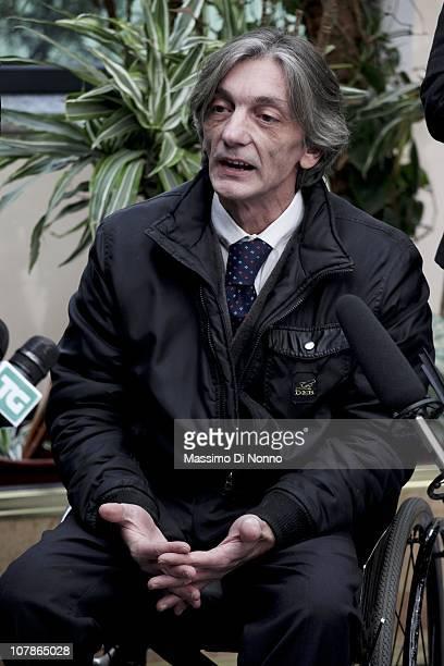 Alberto Torregiani, the son of Pierluigi Torregiani, speaks to media at a press conference also attended by Italian Prime Minister Silvio Berlusconi...