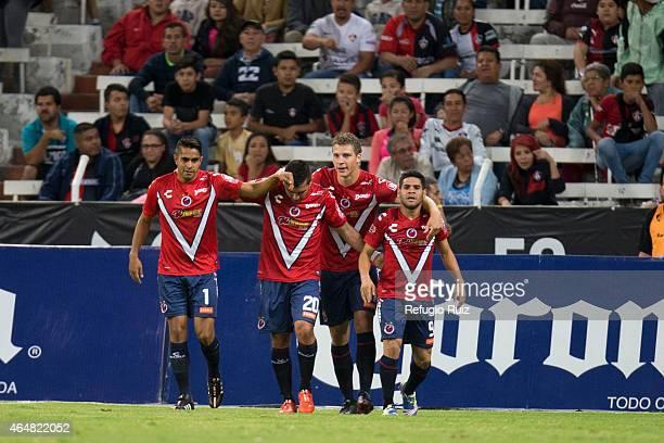 Alberto Villalva of Veracruz celebrates after goals scoring the first goal during a match between Atlas and Veracruz as part of 8th round Clausura...