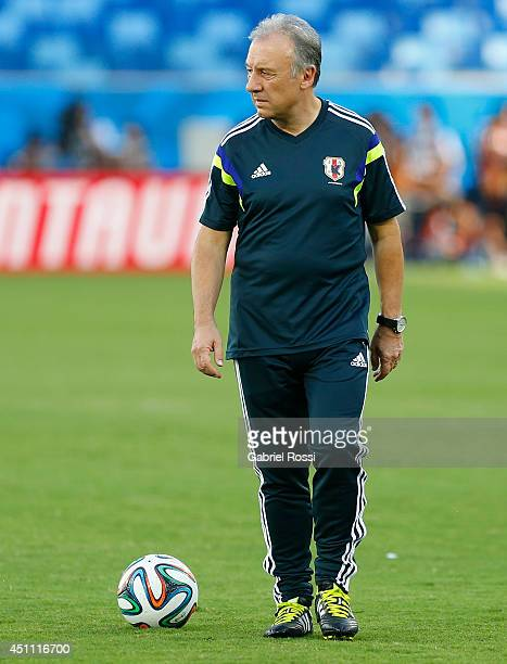 Alberto Zaccheroni coach of Japan looks on during a Japan training session at Arena Pantanal on June 23, 2014 in Cuiaba, Brazil.