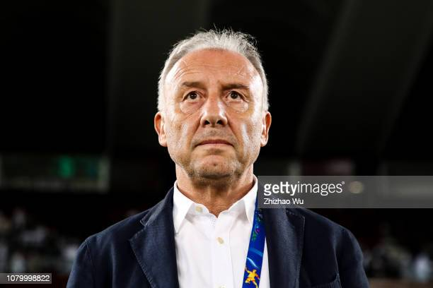 Alberto Zaccheroni coach of United Arab Emirates in action during the AFC Asian Cup Group A match between India and the United Arab Emirates at Zayed...