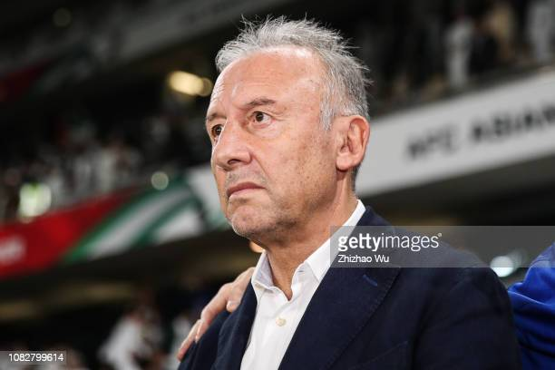 Alberto Zaccheroni coach of United Arab Emirates in action during the AFC Asian Cup Group A match between the United Arab Emirates and Thailand at...