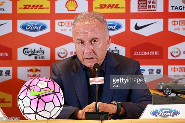 Alberto Zaccheroni head coach of Beijing Guoan attends a press conference after the Chinese Football Association Super League match between Beijing...