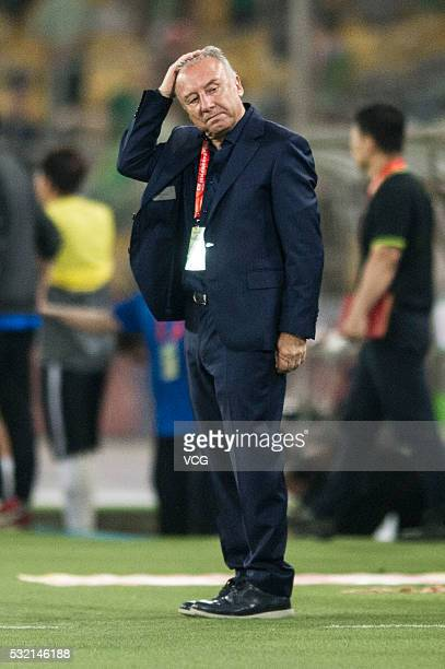 Alberto Zaccheroni head coach of Beijing Guoan reacts during the Chinese Football Association Super League match between Beijing Guoan and Hebei...