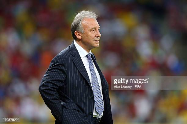 Alberto Zaccheroni head coach of Japan looks on during the FIFA Confederations Cup Brazil 2013 Group A match between Italy and Japan at Arena...