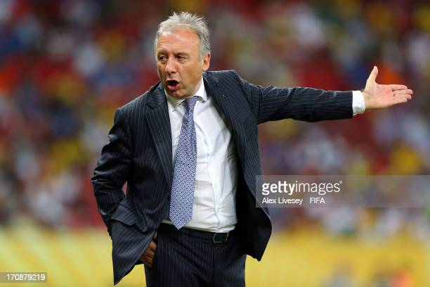Alberto Zaccheroni head coach of Japan reacts during the FIFA Confederations Cup Brazil 2013 Group A match between Italy and Japan at Arena...