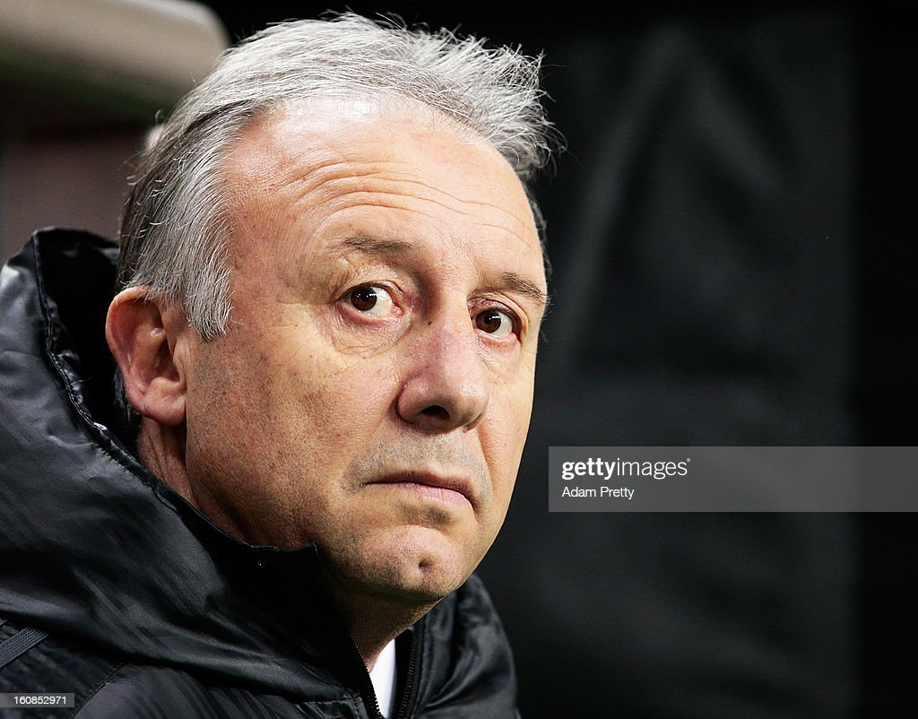 Alberto Zaccheroni head coach of Japan watches the team lineup during the international friendly match between Japan and Latvia at Home's Stadium Kobe on February 6, 2013 in Kobe, Japan.
