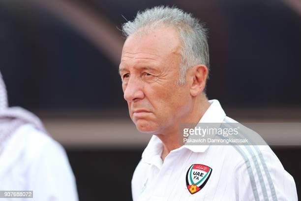 Alberto Zaccheroni head coach of United Arab Emirates national football team looks on during the international friendly match between United Arab...