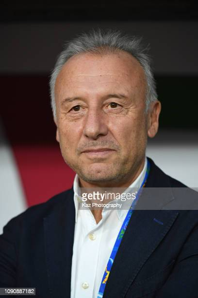 Alberto Zaccheroni, manager of United Arab Emirates during the AFC Asian Cup semi final match between Qatar and United Arab Emirates at Mohammed Bin...