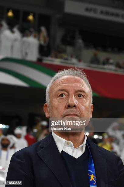Alberto Zaccheronicoach of UAE looks on prior to the AFC Asian Cup quarter final match between United Arab Emirates and Australia at Hazza Bin Zayed...